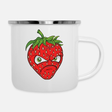 Common Tropical Fruits angry grim strawberry strawberry motif graphic - Enamel Mug
