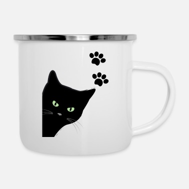 kitty's green eyes cat - Enamel Mug