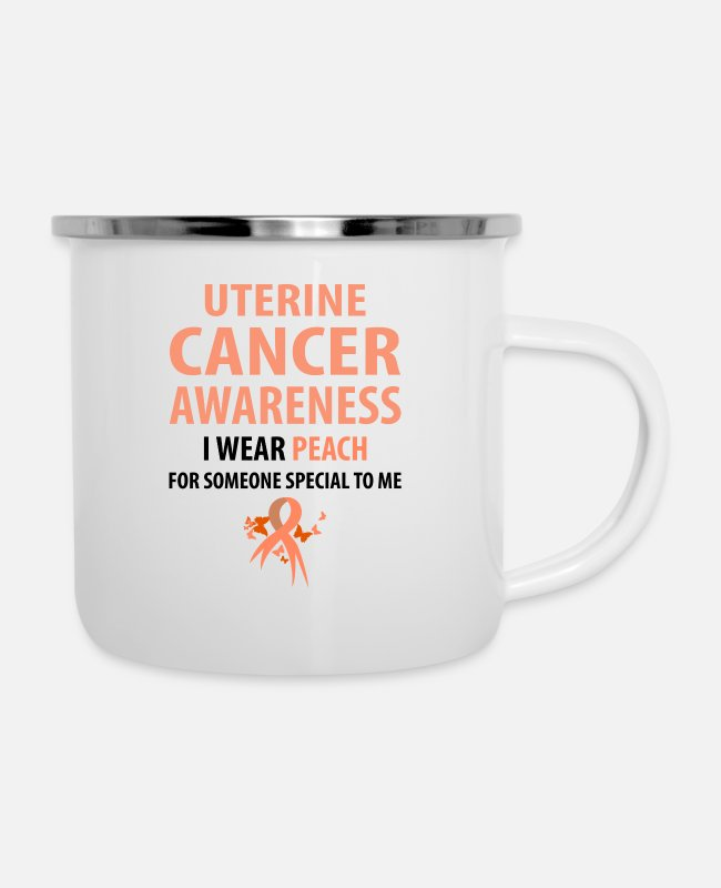 Cancer Survivor Mugs & Drinkware - I Wear Peach For Someone Special To Me - Enamel Mug white