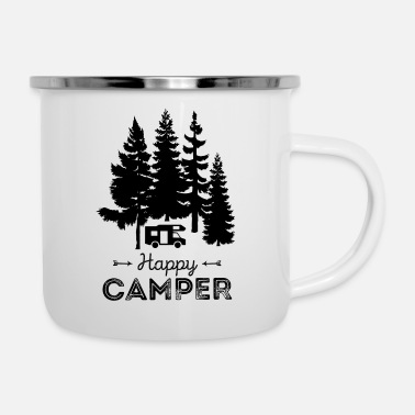 Camper Happy Camper Camping Nature Freedom Nature - Emaille mok