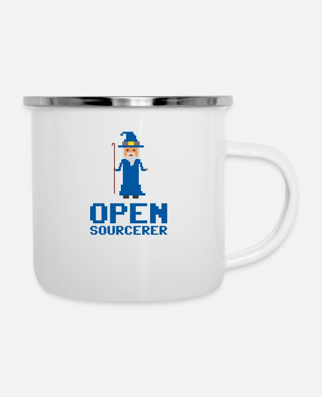 Programmemer Mugs & Drinkware - Developer Open Sourcerer Funny gift idea - Enamel Mug white