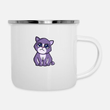 Cat purple blue - Enamel Mug