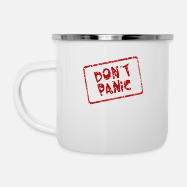 Donde do not panic lettering design logo gift kids - Enamel Mug