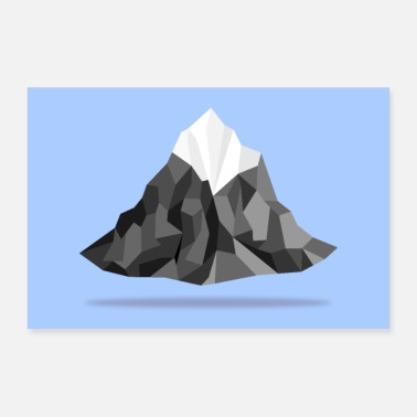 Winter Floating polygon mountains - Poster