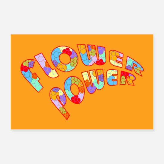 Orange Poster - Flower Power | Vintage Retro Poster - Poster Weiß