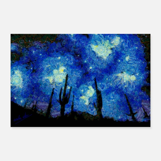 Vincent Posters - Starry Night Over the desert - Posters white