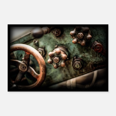 Wheel Steering wheel and steering wheel, an old lathe. - Poster 36 x 24 (90x60 cm)