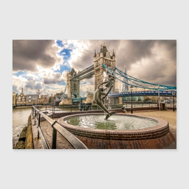 Tower Bridge et fontaine - Poster 90 x 60 cm