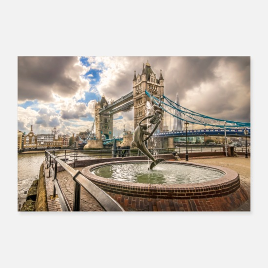 Fontein Posters - Tower Bridge en fontein - Posters wit
