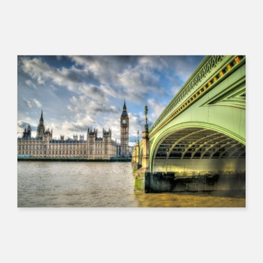 Big Westminster Bridge and Big Ben. - Poster 36 x 24 (90x60 cm)