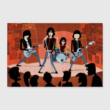 Cartoon Punk-Rock band POSTER - Poster 90x60 cm