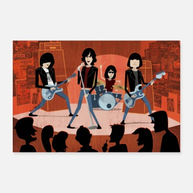 Punk Rock Cartoon Punk-Rock band POSTER - Poster 36 x 24 (90x60 cm)