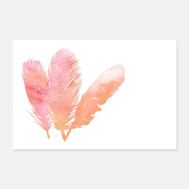 Bestseller Posters - Feather feathers gradient ombre watercolor - Posters white
