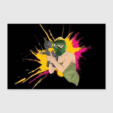 Paintball Girl sexy Blondine - Poster 90x60 cm