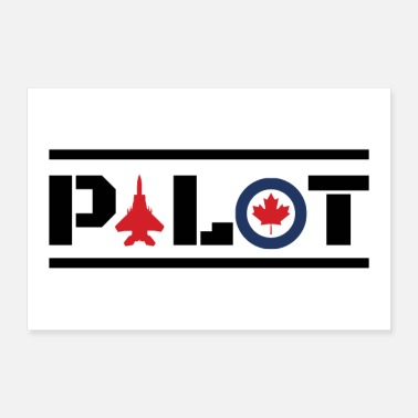 Nose Nose Art Pilot Canada maple leaf - gift idea - Poster 36 x 24 (90x60 cm)