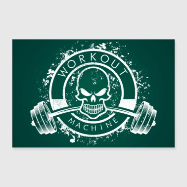 Workout Machine - Skull Fitness Poster - Poster 90x60 cm