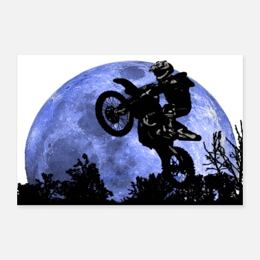 Motorcycle Motorcycle and the moon - Poster 36 x 24 (90x60 cm)
