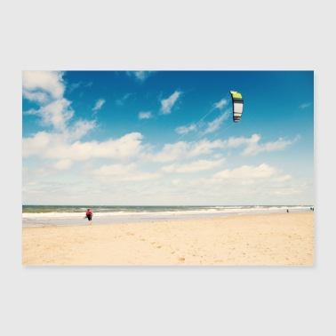 South Holland beach sea kitesurfers - Poster 36 x 24 (90x60 cm)