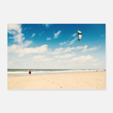 Holland Holland beach sea kitesurfers - Poster 90x60 cm