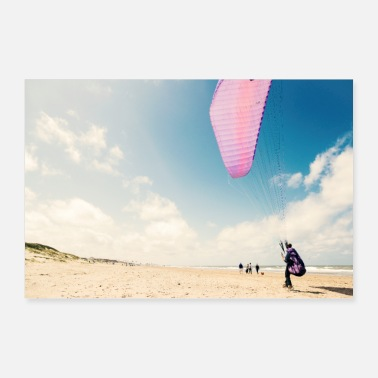 Holland Holland Sea Beach skydiving - Poster 90x60 cm