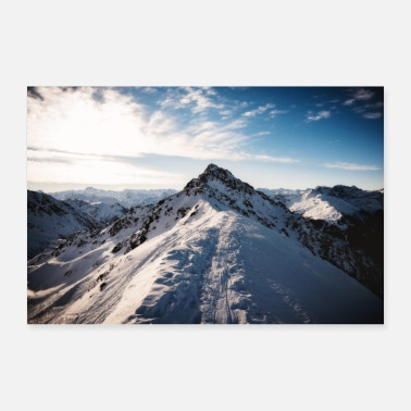 Østrig Østrig Mountain Snow Winter Mountain - Poster 90x60 cm