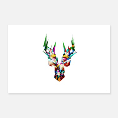 December Reindeer / deer in vector / polygon style with mandala - Poster 36 x 24 (90x60 cm)