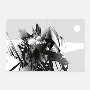 Illustration Landscape in black and white - Poster 90x60 cm