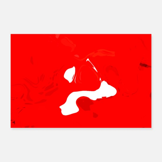 Sweep Posters - Abstract liquid gloss color red and white - Posters white