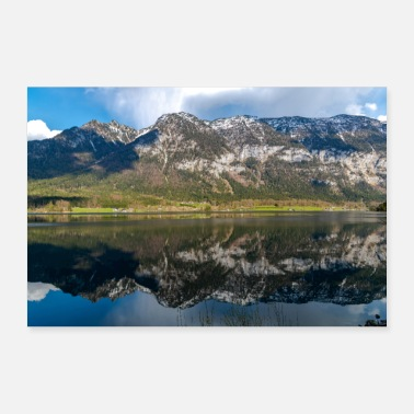 Reflection of clouds and mountains in the lake - Poster