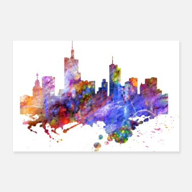 I Love Frankfurt Frankfurt skyline colors - Poster