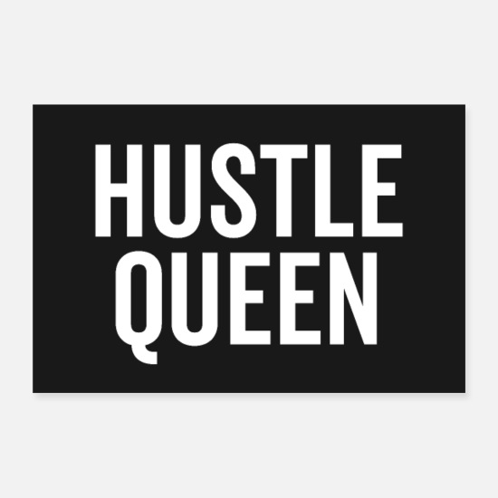 Typography Posters - Hustle Queen Motivational Quote Poster - Posters white