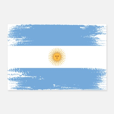 South America Argentina Flag Used Look South America Vintage - Poster