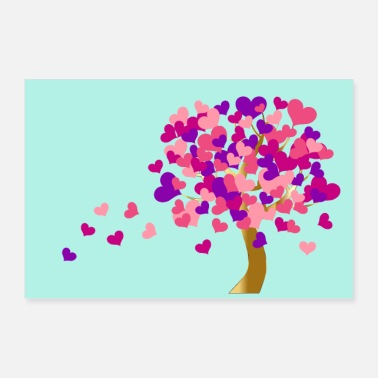 Heart Eyes Heart tree | Tree of hearts - poster blue - Poster 36 x 24 (90x60 cm)