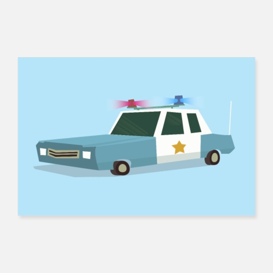Collection For Kids V2 Posters - Funky Police Car Poster - Posters white