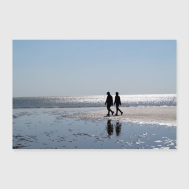 walking on the beach - Poster 36 x 24 (90x60 cm)