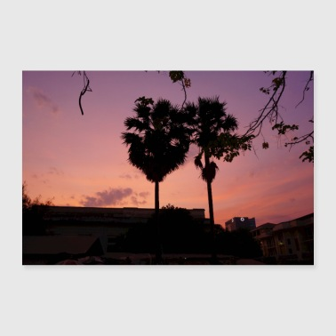 Palm Trees Palm tree Sunset - Poster 36 x 24 (90x60 cm)