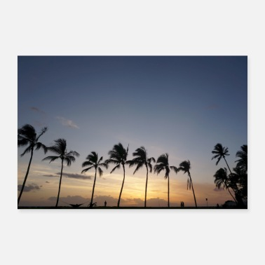 Palme Tramonto alle Hawaii - Poster 90x60 cm