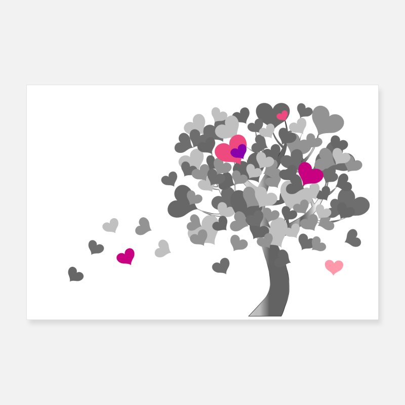 Love Posters - Heart tree | Tree of hearts - black and white - Posters white