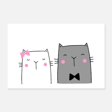 Wedding cute cats couple wedding gift - Poster