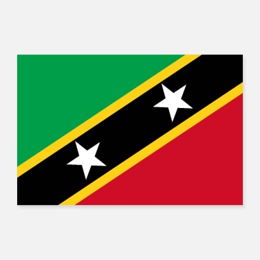 World St. Kitts and Nevis flag - Poster 36 x 24 (90x60 cm)
