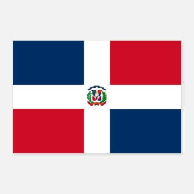World Dominican Republic flag - Poster 36 x 24 (90x60 cm)