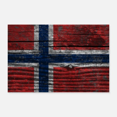 Scandinavia Norway Flag (Poster) - Poster 36 x 24 (90x60 cm)