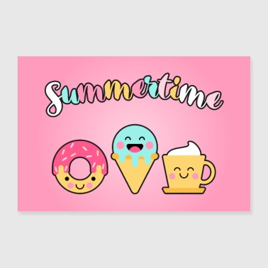 Summer Friends Donut Ice Cream Waffle Coffee Poster - Poster 36 x 24 (90x60 cm)