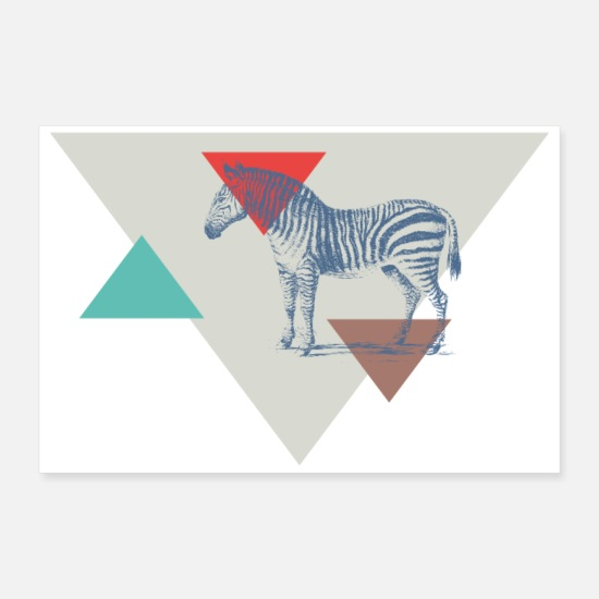 Animal Planet Posters - Zebra triangle design - Posters white