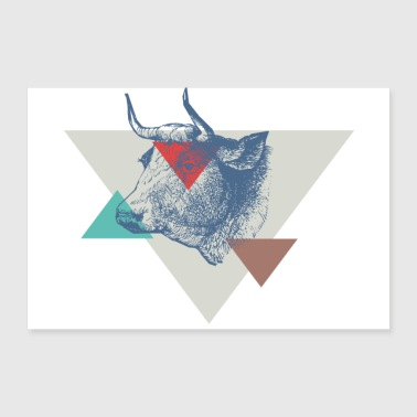 Cow triangle design - Poster 36 x 24 (90x60 cm)