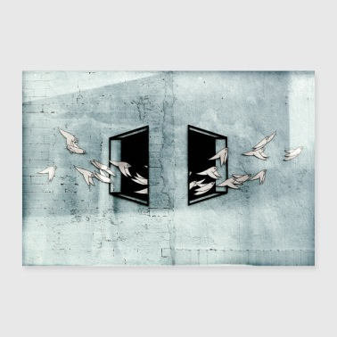 Flying Birds - Street Art Poster - Poster 36 x 24 (90x60 cm)