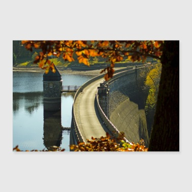 Dam in autumn poster - Poster 36 x 24 (90x60 cm)