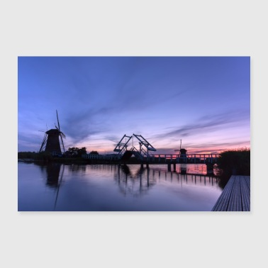 Holland Windmills on the water after sunset - Poster 36 x 24 (90x60 cm)