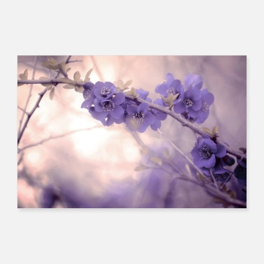 Pastel purple flowers fine art fantasy branch - Poster