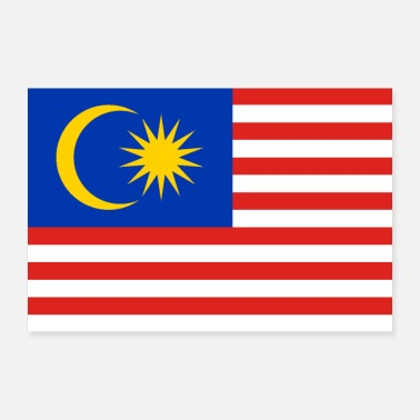 World Malaysia flag - Poster 36 x 24 (90x60 cm)
